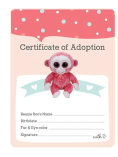 c6cb7a2acc1 Certificate of Adoption Beanie Boo Birthday Party by Bee3Shop 9 Year Old  Girl Birthday