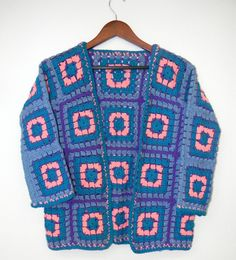 Vintage Crochet Squares Boho Granny Indie Hippie Festival Handmade Warm Sweater Jacket