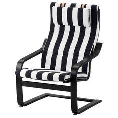 IKEA - POÄNG Armchair black-brown, Stenli black/white
