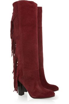 Diane von Furstenberg Penn knee boots: cranberry suede, heel measures approximately 4 inches, fringed trim, almond toe. Penelope, Seventies Fashion, Colorful Fashion, Ethnic Fashion, Red Boots, Retro Look, Luxury Shoes, Girls Accessories, Diane Von Furstenberg
