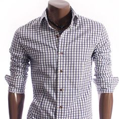 Checkered Dress Shirt  www.jhlstyle.com