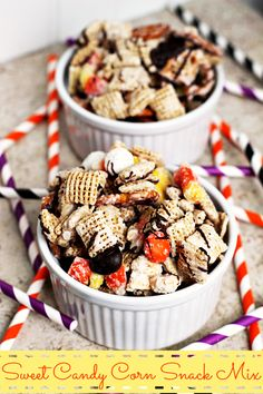 Sweet Candy Corn Snack Mix ~ Chex, Candy Corn M&M's, Pretzels, Peanuts, Candy Corn and Pretzels dressed in Vanilla CANDIQUIK® and drizzled w...