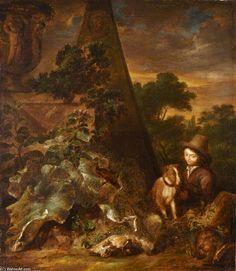 'paysage avec sportif' de Arnold Houbraken (1660-1719, Netherlands)