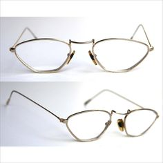 aff1843863 STEAMPUNK Trapezoid Wire Frame Eye Glasses Gold Lightweight Wire Rim RX  Lenses Circa 1940 - 1950