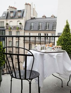 Tea on a parisian balcony - french blue and cream