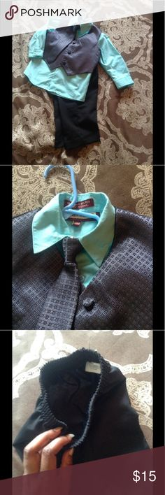 Jeffrey Banks suit outfit for a baby boy Gorgeous Tiffany blue dress shirt with beautiful grey coordinating vest and tie, with black dress pants. Worn twice, in great condition. Nordstrom Matching Sets