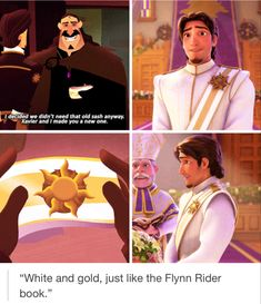 virus animado White and gold, just like the Flynn Rider book. : to the stars who listen Disney Pixar, Disney Tangled, Disney Marvel, Disney Fun, Disney And Dreamworks, Disney Magic, Punk Disney, Tangled Rapunzel, Disney Stuff