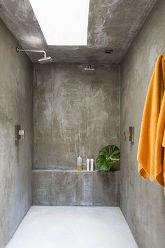 original diseño de cabina de ducha de cemento