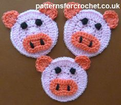 Free crochet pattern for piglet applique, attach to hats, scarves etc. http://www.patternsforcrochet.co.uk/piglet-usa.html #patternsforcrochet
