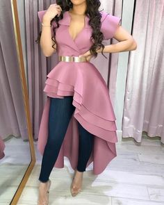 Style:Fashion Pattern Type:Solid Polyester Neckline:V-Neck Sleeve Style:Short Sleeve Decoration:Dip Hem Length:Asymmetrical Occasion:Casual Package Note: There might be Bodycon Dress With Sleeves, Maxi Dress With Slit, Fashion Pattern, Trend Fashion, Spring Fashion, Women's Fashion, Fashion 2018, Fashion Online, Fashion Women
