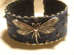 Dragonfly Denim Cuff от ShersDragonflyShop на Etsy
