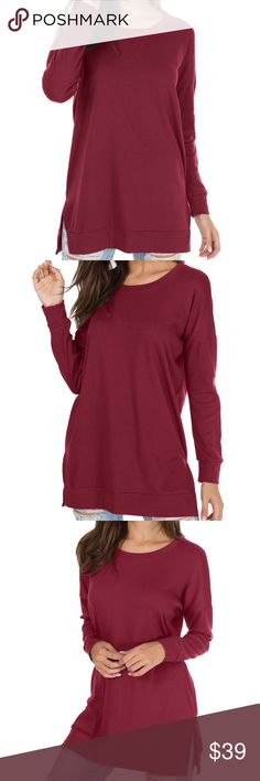 Long Sleeve Side Split Loose Casual Pullover Tunic *Color: Wine Red *There is 2-3% difference according to manual measurement.  *Compare these product measurements to a similar garment you already own.  *Take all measurements from the outside with the garment lying flat. EllaB Tops Tunics