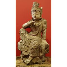 Hand Carved Wooden Sitting Kwan Yin