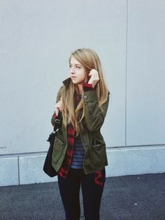 winter layers: stripes + plaid + green army jacket