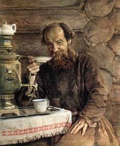 Old man, a samovar and tea by Alexander Morozov, Russian painter 1835-1904.  I want to know more about this painting but can't find any info-- would help if I read cyrillic!  love the steampunky samovar, dainty teapot, the craggy worn face/hands, big curly beard and big nose. I'd like to share a cuppa and listen to his stories...