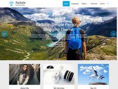 Screenshot of the Radiate theme Reading Themes, Photography Sites, Header Image, Wordpress Template, Premium Wordpress Themes, Minimal Design, Say Hi, Radiators, Typography