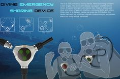 Diving Emergency Sharing Device allows divers to share their oxygen with up to two others and sends out an SOS during emergency situations. #diving #safety #YankoDesign