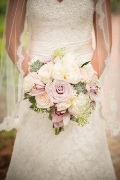 Soft Pastel Colors - Wedding Bouquet - Seen on SMP Weddings: http://www.StyleMePretty.com/2014/05/21/traditional-ashford-estate-wedding/ Bouquet Design: MagnoliaNJ.com -  Photography: TheStudioPhotographers.com