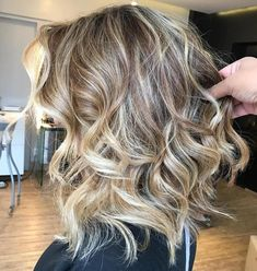 Curly Brown Blonde Long Bob