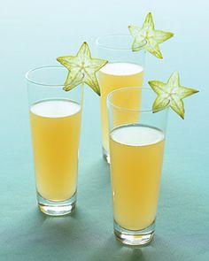 Cocktail of pureed star fruit, sparkling wine, and elderflower liqueur
