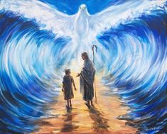 Making a Way Original Acrylic Painting of Jesus Christ and Child, Gold Path, Parting Waters, White Dove / Christian Art Spiritual Religious Jesus Christ Painting, Wall Of Water, Lotus Art, Prophetic Art, India Art, Jesus Pictures, Christian Art, Christian Posters, Acrylic Painting Canvas