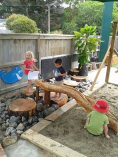 Example of combined water and sand play area. Love the big rocks instead of gravel.