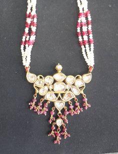 Vintage antique solid 20K Gold jewelry Diamond polki Ruby pearl necklace pendant #Handmade #Pendant
