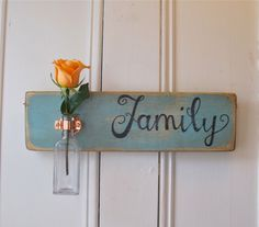 Wall Flower Vase, Family, Antique Bottle, Copper Hanger, Spring, Home Decor, Light Blue Chalk Paint. $39.95, via Etsy.
