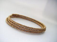 BANGLE bronze memory wire bracelet seed bead by juditpukkai