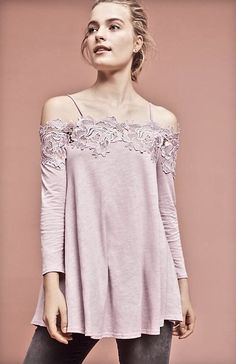 NWT Anthropologie Meadow Rue lavender pink Lace Off The Shoulder Swing Top L #MeadowRue #offtheshouldertop #versatile