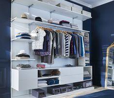 Le dressing Oppen : concept modulable et personnalisable Bedroom Storage Shelves, Diy Storage Unit, Dressing En Kit, Dressing Room, Used Cabinets, Open Wardrobe, Clothes Rail, White Shelves, Hanging Rail