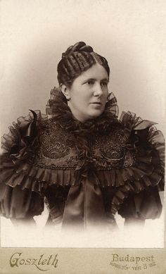 :+~+~ Antique Photograph ~+~+  Woah!  She looks like a bird in that intricate dress.  Budapest, Hungary.