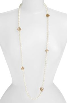 Tory Burch 'Evie' Logo & Glass Pearl Necklace available at #Nordstrom