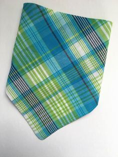 A personal favorite from my Etsy shop https://www.etsy.com/listing/276804062/dog-bandana-blue-plaid-dog-bandana-green