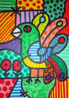 Check out student artwork posted to Artsonia from the In the style of Romero Britto project gallery at Het Kofschip. 2nd Grade Art, Ecole Art, Art Lessons Elementary, Art Classroom, Art Plastique, Art Activities, Teaching Art, Bird Art, Oeuvre D'art