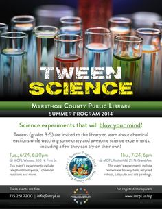 Tween science experiments! Science Crafts For Kids, Library Events, Cool Science Experiments, Library Programs, Chemical Reactions, Blow Your Mind, Tween, Projects To Try, Learning