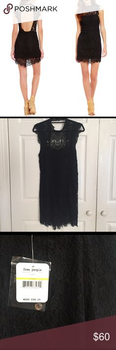 NWT Free People Daydream Scalloped Lace Dress Free People Daydream Bodycon Slip Dress. Women's mini dress. Flattering body-con fit. High neckline. Scalloped trims. Frayed cap sleeves. Open back. Lining features a sweetheart neckline. Outer: 56% Cotton and 44% Nylon. Lining: 100% Rayon. Imported. Vendor Style #: OB518214. Free People Dresses