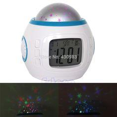 Children Baby Room Sky Star Night Light Projector Lamp Bedroom Music Alarm Clock