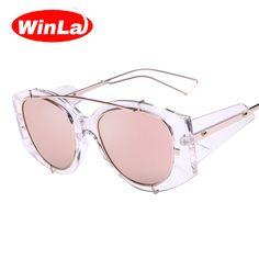 d1cd8e5a8d4 Winla Fashion Pink Mirror Sunglasses Vintage Men Sun Glasses Double-Bridge  Clear Frame Sunglasses Men New Shield Goggle