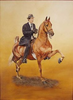 CH STONEWALL'S CRIMSON AND CLOVER by Jimmie Carey (from photo by Rick Bates) | American Saddlebred Museum 2008 Auction