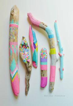 Neon Painted Wooden Sticks