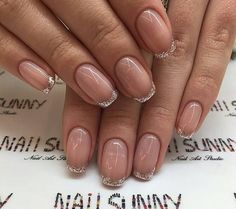 French manicure with gold glittered tips