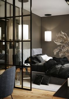 Essential Home is the epitome of bohemian design. Loft Design, House Design, Black Interior Design, Studio Apartment Decorating, Interior Windows, Mid Century Furniture, Home Staging, Modern Bedroom, Home Decor