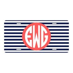 Navy Stripe Car Tag | underthecarolinamoon.com