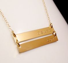 Personalized Gold Bars Necklace, Mom Sister Aunt Grandma Christmas, Childrens Names, Handstamped Gold Minimalist, Valentines Mothers Day