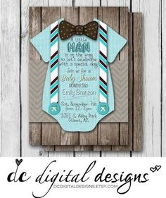 little man invitations baby shower