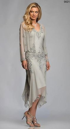 Tea Length Chiffon Beaded Mother of the Bride Dresses With Jacket Lace Appliques Sequins Chiffon Mother's Formal