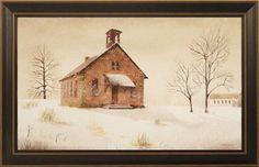 """Snow Day"" by Billy Jacobs 15x23 Framed Print Folk Art Country School | eBay"
