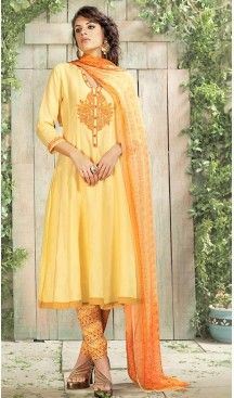 7a988b54504 Yellow Color Cotton Straight Cut Evening Wear Salwar Kameez ...