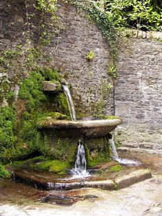 > Lismore > Fountain Water fountain outside the walls of Lismore Castle gardens in Ireland.Water fountain outside the walls of Lismore Castle gardens in Ireland. Garden Fountains, Outdoor Fountains, Garden Ponds, Koi Ponds, Yard Water Fountains, Fountain Garden, Diy Garden, Spring Garden, Backyard Water Feature